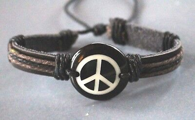 Brown Leather Cord Bracelet - Brown Leather & Cotton Cord Adjustable Peace Sign Wristband Bracelet New on Card