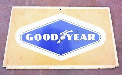 GOODYEAR Sign Vintage Metal Advertising Collectible Gas Oil Tire rack display