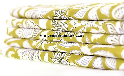 Indian Hand Art (5 YARD INDIAN HAND BLOCK COTTON FABRIC JAIPUR SANGANER PRINT FLOWER NATURAL ART )