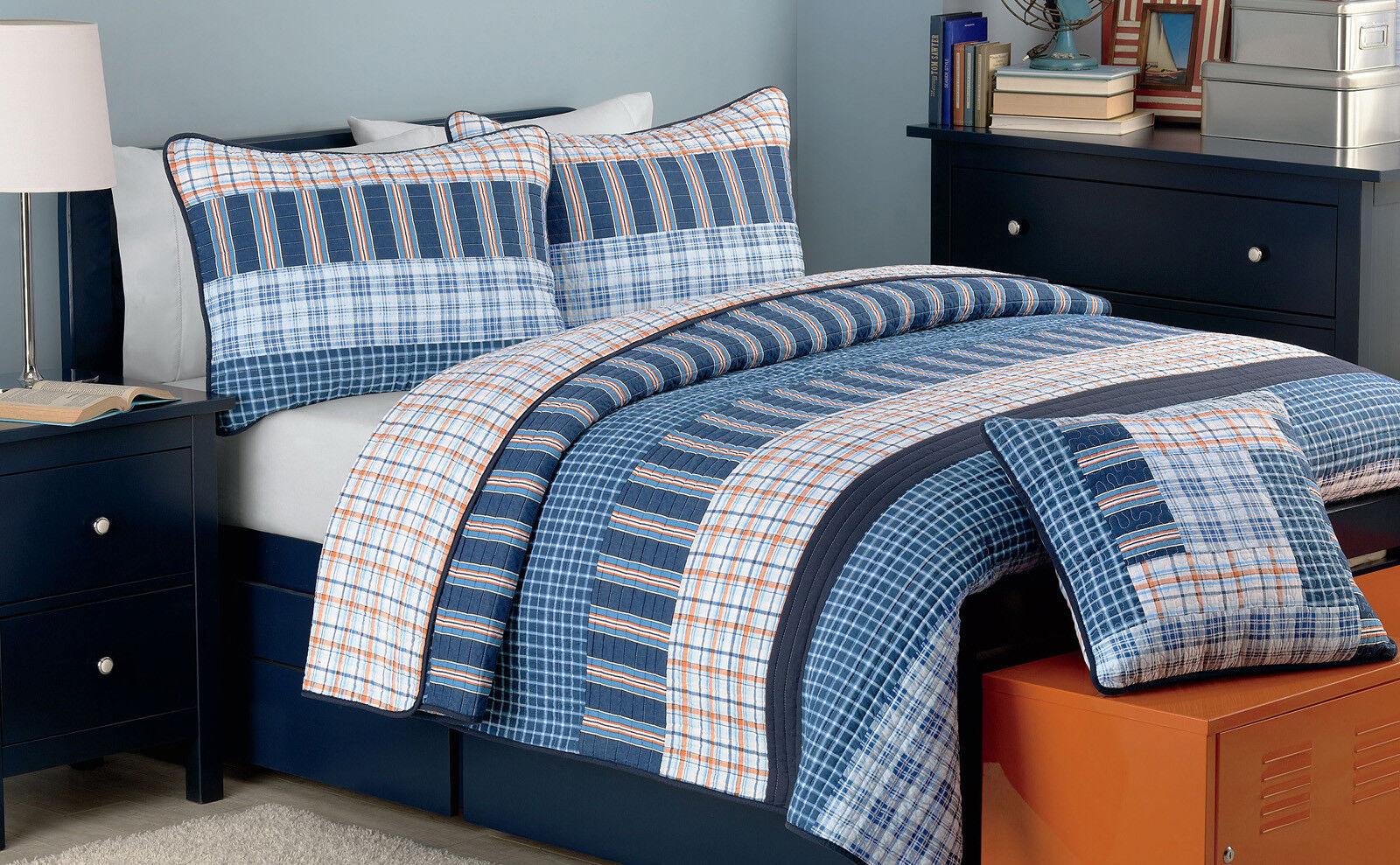 Salina Navy Plaid Reversible 100%Cotton Quilt Set, Bedspread