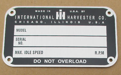 Id Serial Number Plate For Ih International Farmall Cub C H M Super A Av M-ta