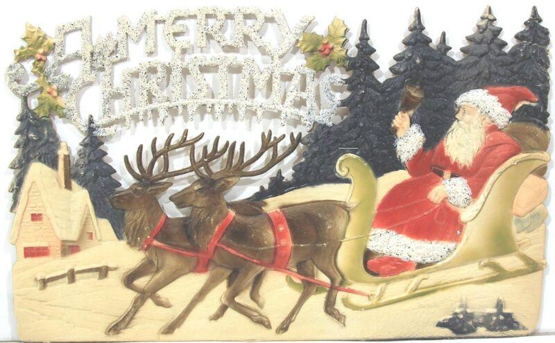 Wonderful Die Cut & Embossed Merry Christmas Scene  Santa & Deer in Sleigh 1930s
