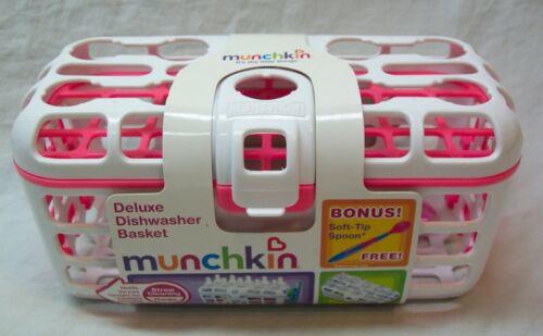 Munchkin DELUXE DISHWASHER BASKET White and Pink BONUS SPOON NEW