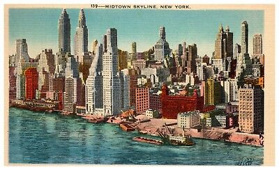 - Vintage linen postcard Skyline view of Midtown New York NY