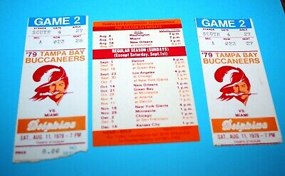 2 x 1979 NFL Tampa Bay Buccaneers vs Miami Dolphins Game Ticket Stubs + Schedule