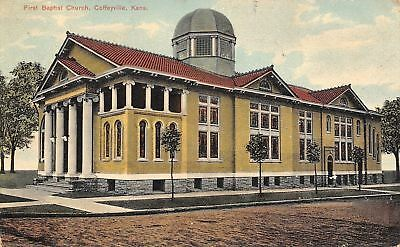 Coffeyville Kansas First Baptist Church Windowed Cupola 1908 Postcard