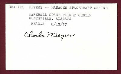 Charles Meyers NASA Space Spacecraft Office Manager Signed 3x5 Card E18315