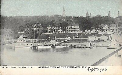1906 Twin Light Houses Hotels & Harbor Highlands NJ post card #2