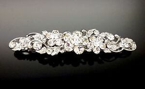 Exquisite Formal Wedding Crystal Silver Hair Clip Barrette Comb Rhinestone 7cm