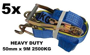 5x - 50mm x 9M 2500KG TIE DOWN RATCHET STRAP HEAVY DUTY, QUALITY STRAPS