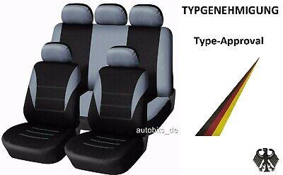 Schwarze Auto-Sitzschoner Sitzbezüge mit Grauen Streifen OVP für Citroen Dacia
