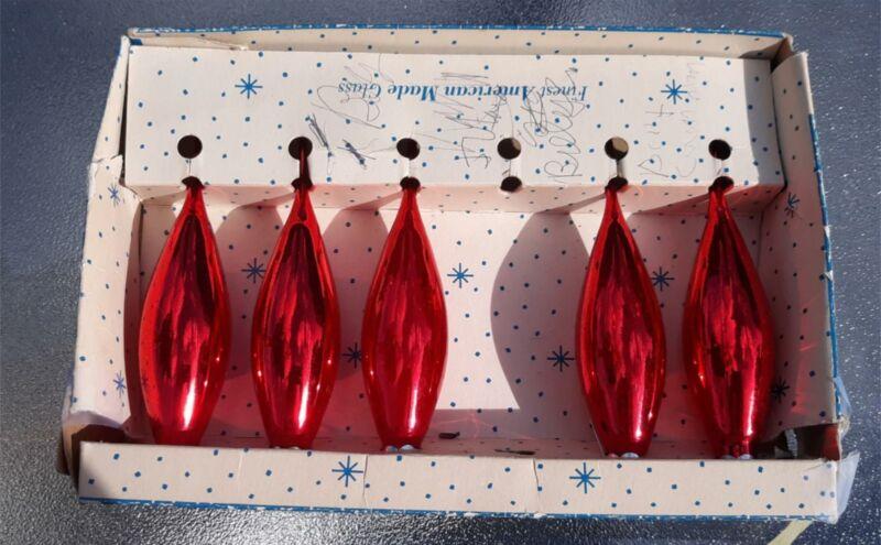 Set of 5 Vintage PARAGON Red Tear-Drop Glass Ornaments