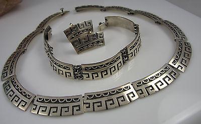 Vintage Sterling Silver Signed JH Eagle 3 MEXICO Necklace Bracelet Earrings Set