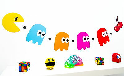 80s Party Decoration - Pacman and Ghosts Bunting -  Pac man - 160cm - Pac Man Decorations