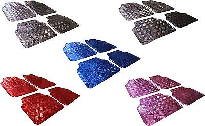 Universal Car 4 Piece Heavy Duty Checkered Plate Aluminium Effect Front Mats