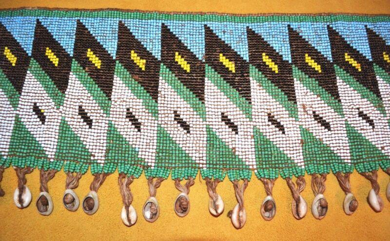 Kirdi Woman Tribal Cache Sexe Beaded Belt Apron W Cowry Shells, Cameroon, Africa