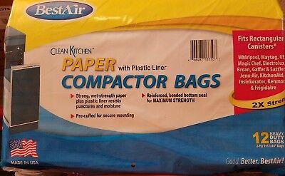 BestAir Trash Compactor Bags 2 Ply 9×17×16 Paper Plastic Liner Lot of 10=120 Bag