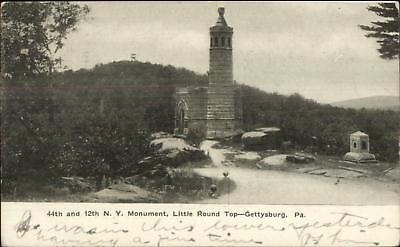 Gettysburg PA 44th & 12th NY Monument Little Round Top Civil War Postcard, used for sale  USA