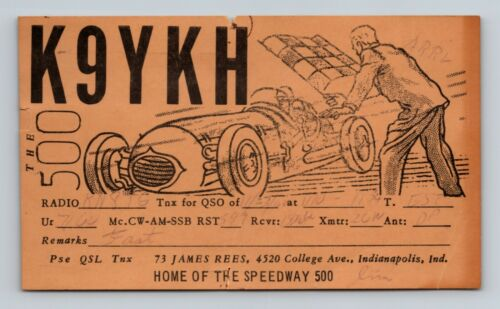 1960 Ham Radio QSL Card K9YKH Indianapolis 500 Home of the Speedway Car Racing