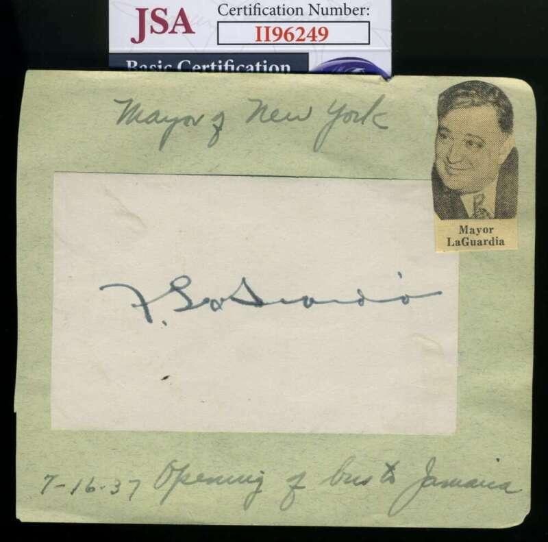 Fiorella Laguardia JSA Coa Hand Signed 1937 Album Page Autograph