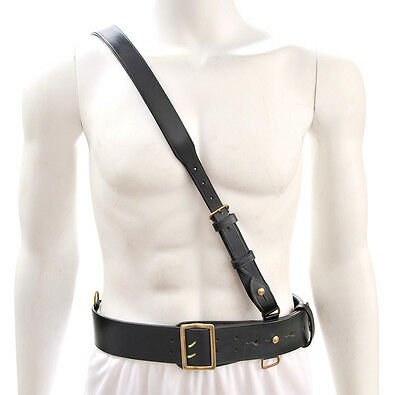 "Sam Browne Belt with Shoulder Strap Black Leather WW1 will fit 42""- 45"""