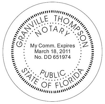 Florida Custom Round Official Self-inking Notary Seal Rubber Stamp