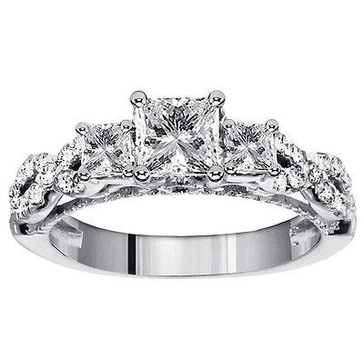 1.43 CT 3-Stone Princess Cut Diamond Engagement Ring in Braided Setting NEW 3 Stone Princess Ring Setting