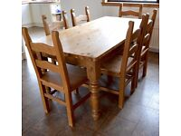 Large Rustic Farmhouse Dining Table and 6 Chairs