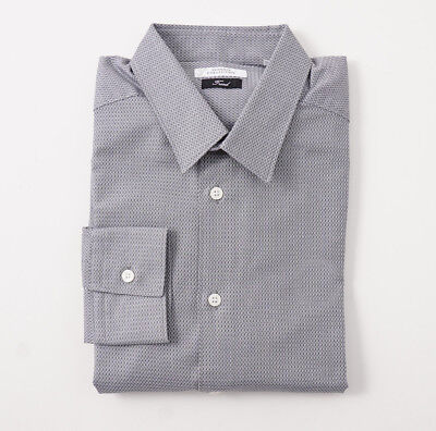 NWT $295 VERSACE COLLECTION 'Trend' Slim-Fit Gray Patterned Dress Shirt 16.5