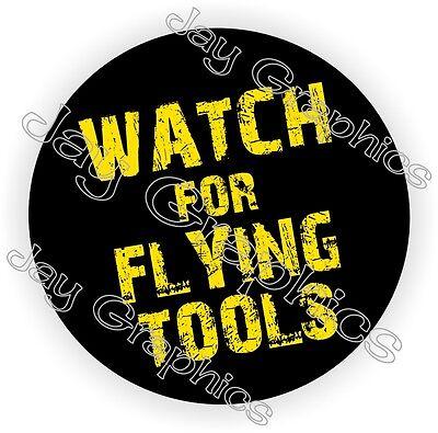 Flying Tools Hard Hat Sticker Decal Funny Label Helmet Construction Laborer