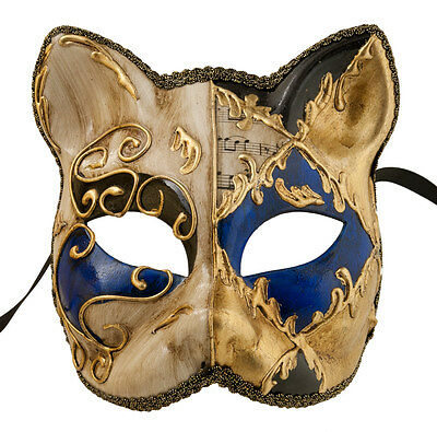 Mask Cat Venetian Carnival Venice-Lully Black Blue Golden -1948-V83B