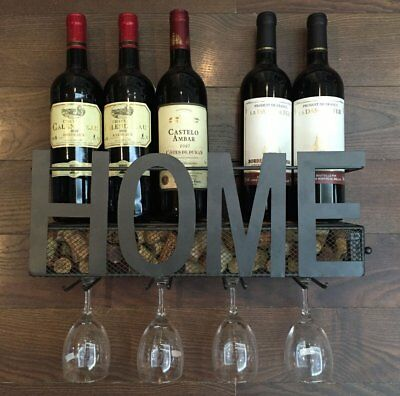 New Arrival Wall Mounted Metal Wine Rack 4 Long Stem Glass holder & Wine Cork - Black Wine Rack