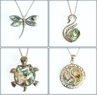 Natural Paua Shell Charm Pendant Necklace Abalone Dragonfly Swan Yin Yang Cross