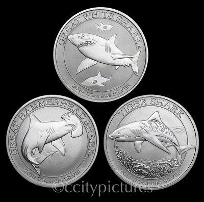 All (3) 1/2 oz Great White Hammerhead & Tiger Silver Australian Shark Coins #6
