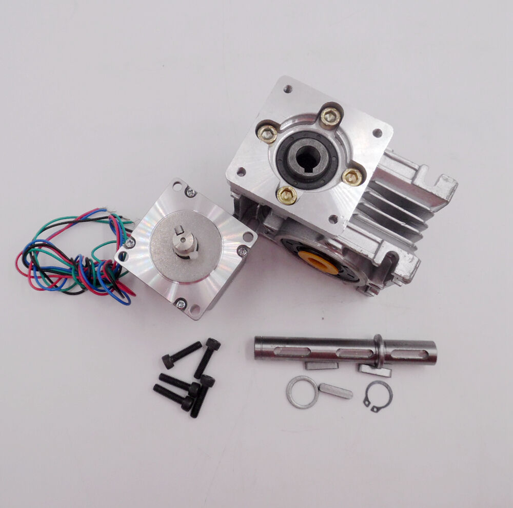 Ratio 20:1 NMRV030 Worm Gear Stepper Motor Gearbox Speed Reducer L112mm CNC