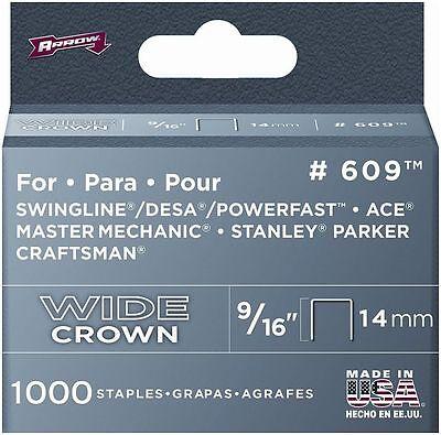Arrow 60930 916in. 1000 Pieces Wide Crown Swingline Heavy Duty Staples