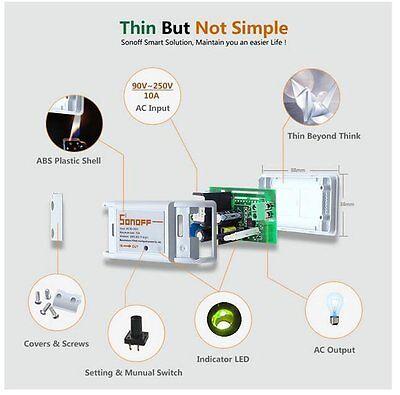 Sonoff - ITEAD WiFi Wireless Smart Switch Module Shell ABS Socket for Home DIY