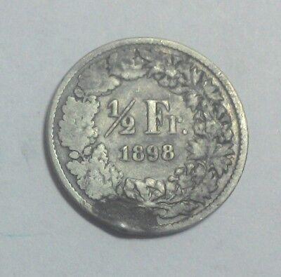 monnaie argent munten zilver 1/2 franc 1898 suisse switzerland