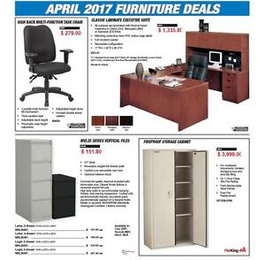 April Furniture Sale! Desks - Chairs - Filing Cabinets - Bookcases - Chair Mats