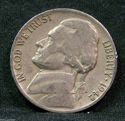 (1942 D Jefferson Nickel, Type 1, Circulated, Mintage of 13.9 Mil, Scarce.)