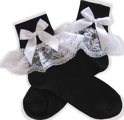 Little Girl Costumes For Adults (Black WHITE Lace Bows Lacy Socks for Adult Little Girl Sissy Boy Dress up)