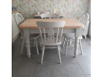CHUNKY FARMHOUSE KITCHEN DINING TABLE AND 4 CHAIRS