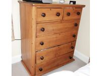 ANTIQUE PINE CHEST OF DRAWERS TALL BOY STORAGE BEDROOM FURNITURE