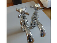 Pair of beautiful Beaumont Traditional chrome bath taps new in box