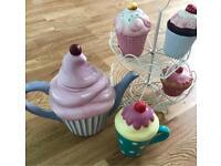 Cupcakes collection: cupcakes stand teapot mug and pots