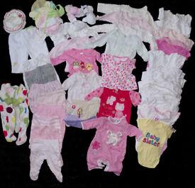 0-3 months girls clothes big bundle 50pcs newborn Disney, George, Next, Mothercare