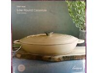 Linea Cream Cast Iron Low Round Casserole, 31cm