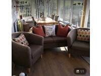 2 soft velvet brown arm chairs