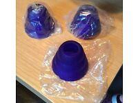 3 SMALL BLUE LAMP SHADES