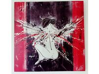 Angel artwork. Acrylic painting on canvas board.
